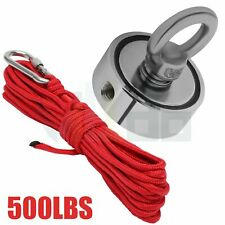 500 Lbs Fishing Magnet Kit Strong Round Double Sided with 10m Rope Neodymium
