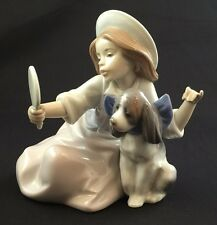 Fine Porcelain Lladro Figurine #5468 Who's The Fairest Girl Dog Mirror