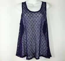 Pretty Angel Meah Purple Sequin tank top L Large  romantic victorian Net Swim