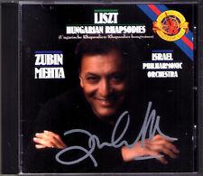 Zubin Mehta firmato Liszt 6 Hungarian Rhapsody e CBS 1989 CD autograph autografo