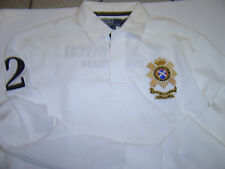"NEW MENS RALPH LAUREN ""BLACK WATCH"" WHITE ""CUSTOM"" L/S POLO SHIRT SIZE S $145"