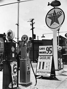"Gas Station, 1950's, ""Texaco Service Station, 50's"" digital print from B&W photo"