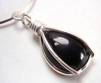 Black Onyx Caged Teardrop 925 Sterling Silver Pendant Corona Sun Jewelry