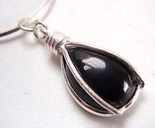 Black Onyx Caged Teardrop 925 Sterling Silver Pendant Corona Sun Jewelry