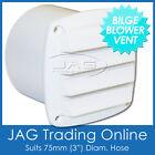 "BILGE BLOWER LOUVRE VENT 75MM (3"") TAIL END EXHAUST OUTLET WHITE - Caravan/Boat photo"