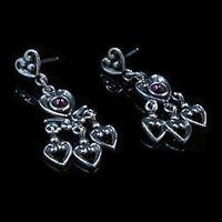 .925 Sterling Silver Natural Garnet Heart Dangle Post Earrings