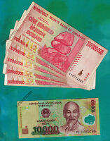 5 x 100 Million Zimbabwe Dollars AA + 1 x 10,000 Vietnam Dong Banknotes Currency