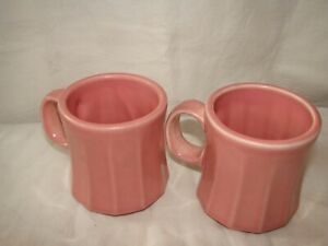 HLC  CUP MUG with RIBS   ROSE PINK  set of 2