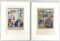 1844 Paar Antik Aufdrücke Herzogin Von Orleans Paris Frankreich Medieval Knight