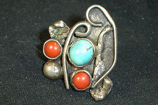 Old Navajo Sterling Silver Turquoise Coral Ring 6.25 Native American Dead Pawn