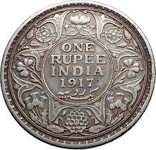 1917 INDIA UK King George V Silver Antique RUPEE Vintage Indian Coin i71851