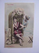 """CPA  -  """" Sur la Plage """"  ( Mode , Maillots de Bain années 1900 ) - éd. Bergeret"""