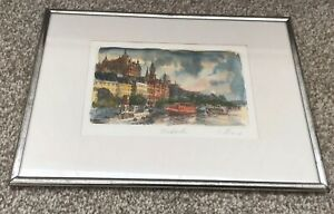 Framed watercolour painting of Stockholm Sweden. Signed.