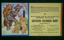 JB046 1946 Advertising Blotter Southern Colorado Dairy Signed Lawson Woods