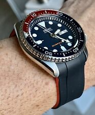 22mm Vulcanized rubber Strap For Seiko SKX009 Watches Dual Color Black & Red