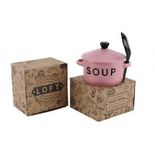 Contemporary Housewares Loft Stoneware Soup Bowl With Lid and Spoon Pink