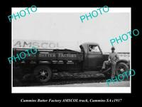 OLD HISTORIC PHOTO OF CUMMINS SOUTH AUSTRALIA AMSCOL BUTTER FACTORY TRUCK 1937