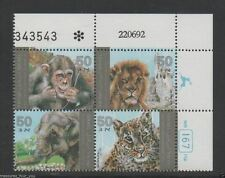 ISRAEL 1992 Plate Block  ZOO ANIMALS Chimpanzee Monkey Lion Elephant Leopard