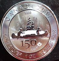 FREE SHIPPING 1 oz Silver Maple Canada 150 Years 2017 Voyageur 9999 RCM Coin $5