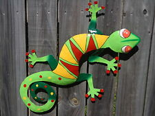 LARGE GECKO Recycled Metal Garden Wall Hanging Art & Home Patio Deck Decor