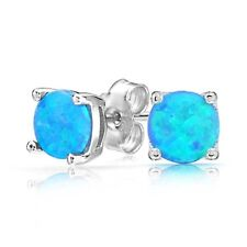 Opal Earrings Stud Silver Fire 925 Jewelry Blue Wedding Sterling Round Earrings