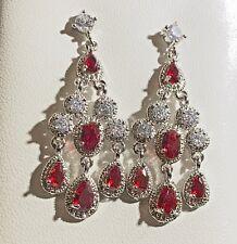 J White Gold Filled Red Zirconia Swarovski Elements Drop Dangle Earrings Plum UK