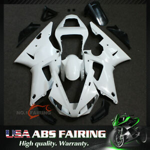 ABS Injection Fairing Kit BodyWork for YAMAHA YZF R1 2000-2001 Unpainted white