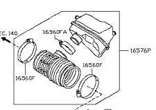 NISSAN INFINITI 16576-1LA0A Air Cleaner Intake-Duct Tube Hose Assy 165761LA0A