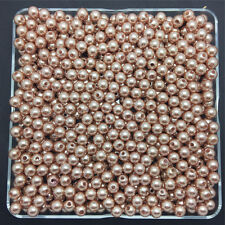 200PCS 4mm Light Brown Acrylic Round Pearl Spacer Loose Beads Jewelry Making