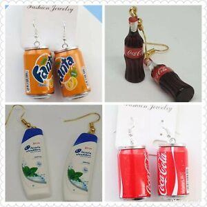 Novelty Wine Glass Earrings Keyring Xmas Party 80's Disco Ball Fanta Coke Sprite