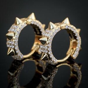Men's 14k Gold Plated Two Tone Hip Hop Spiked Iced Cz Huggie Hoop Earrings