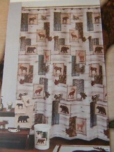 Shower Curtain Set w/bear hooks TIMBER RIDGE Bears Moose Deer Rustic Cabin NWT