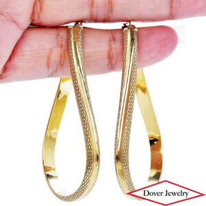 Estate 14K Gold Large Oval Textured Hoop Earrings NR