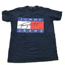 Tommy Hilfiger Shirt Size Medium M Blue Reed Tee Short Sleeve Box Logo Graphic