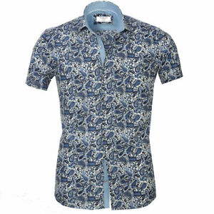 Men`s Russell & Giles Short Sleeve Designer Paisley Shirt Size XL