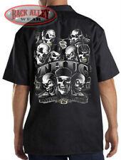 THUG LIFE Mechanics Work Shirt Biker Cash ~ Hustlin' Everyday ~ Gangster Skulls