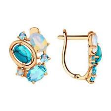 Russian Earrings gold SOKOLOV NEW turquoise topaz Rose gold 14K 585 Russia 3.3g