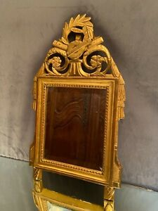 Mirror IN Pediment 18th Louis XVI Wooden Carved Golden The Attributes Of Music