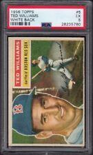 1956 Ted Williams Topps Baseball Card #5 White Back Graded PSA 5 Excellent (EX)