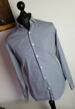 Richard James Mayfair Striped Blue/White Pure Cotton Tailored Formal Shirt 16""