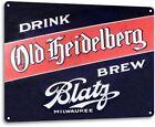 Blatz Beer Old Heidelberg Logo Weathered Retro Wall Decor Bar Large Metal Sign