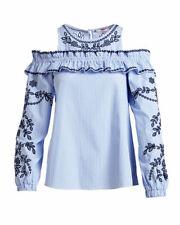 NWOT ~ PARKER ~ Blue/White Striped SAMMY ~ Cold-Shoulder Long Sleeve Blouse Sz L