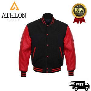 Varsity Letterman Baseball Bomber Jacket Red Wool and Genuine Leather Sleeves