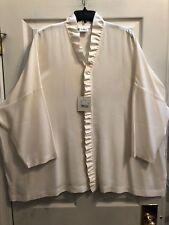 NWT Eskandar Size 2 1x 2x 3x  Ivory Silk Crepe De Chine Ruffled Shirt Top