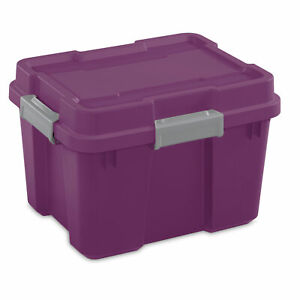 Sterilite 20 Gal Gasket Tote Storage Container Box w/ Lid, Purple/Gray (4 Pack)
