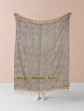 100% Cotton Fringe Lounge Sofa Bed Throw Handmade Blanket Bed Runner 182X132 cm