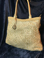 Style & Co Large Gold Purse Handbag Tote Faux Leather Zippered Lattice Sequins