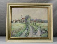 Buchau am Federsee kleines Gemälde - Aquarell o.ä. auf Holz signiert Muges /S302