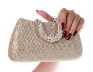 Women Crystal U Diamond Day Clutch Evening Bag Bridal Prom Wedding Party Handbag