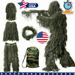 New Ghillie Suit XL/XXL Camo Woodland Camouflage Forest Hunting 3D 4-Piece + Bag